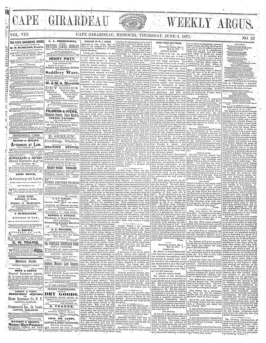 Cape Girardeau Weekly Argus 1871 06 01
